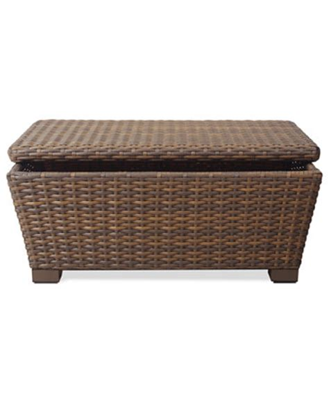 patio coffee table with storage peconic wicker outdoor storage coffee table furniture
