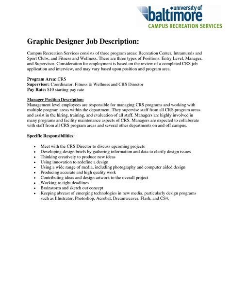 Graphic Designer Responsibilities Resume by Graphic Designer Description Resume Free Resume