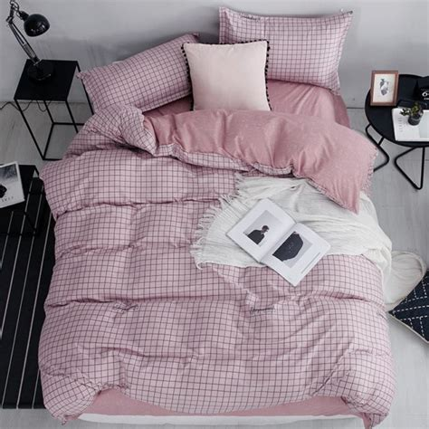 * Pink Grid Bed Linen Super Sale Now On Free Shipping
