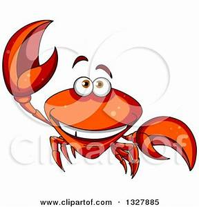 Clipart of a Waving Blue Crab - Royalty Free Vector ...
