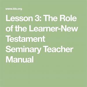 Lesson 3  The Role Of The Learner