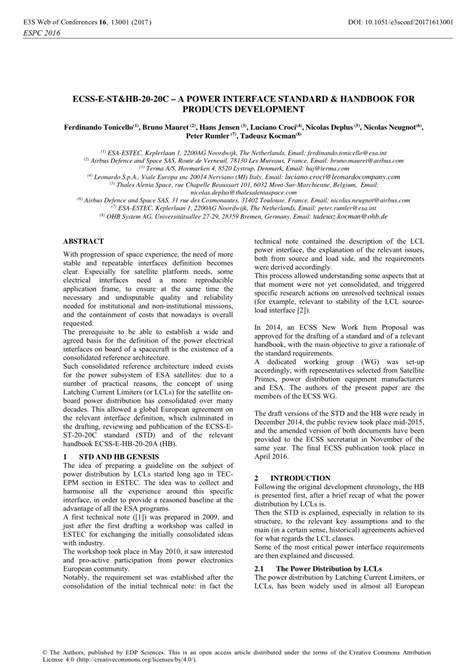 (PDF) ECSS-E-ST&HB-20-20C – A Power Interface Standard