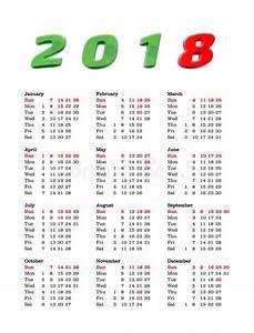 Calendário Do Ano 2018 Estados Unidos Da América