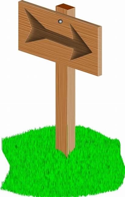 Sign Clip Cartoon Signpost Wooden Clipart Grass