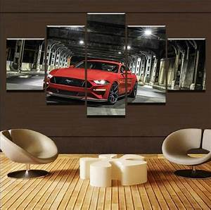 Red Ford Mustang Car & Motor – 5 Panel Canvas Art Wall Decor – Canvas Storm