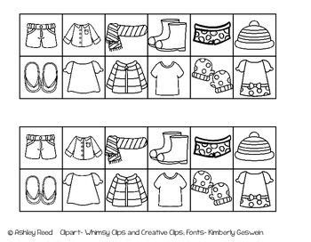 hot and cold weather clothing sort freebie january