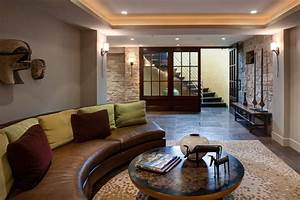 Half Circle Couch Basement Contemporary With Area Rug