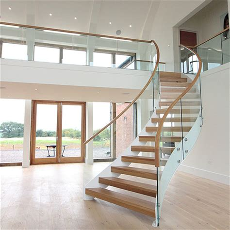 acacia wood steps curved stair  stainless steel