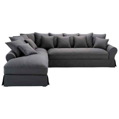 canap angle ik a canapé d 39 angle gauche 6 places en coton gris ardoise