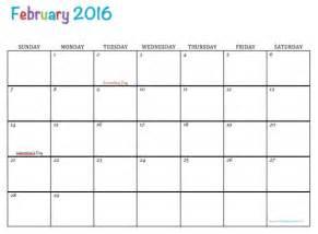 February 2016 Free Printable Calendars Com