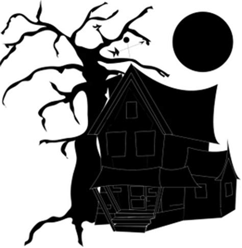 black  white silhouette   haunted house  halloween