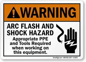 Arc flash shock hazard ppe tools required sign sku s for Arc flash warning signs