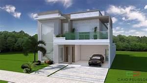 Projeto Casa Sobrado 03 Suites Terreno 11x25 Condominio Fachada Contemporanea