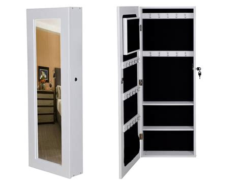 White Mirrored Jewelry Cabinet Armoire by Mirrored Jewelry Cabinet Armoire Organizer Storage Wall