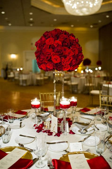 Red Roses Tall Centerpiece Lifes Highlights Wedding