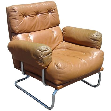 mid century modern leather chrome lounge chair ebay