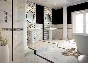 Salle De Bain Marbre Blanc : carrelage salle de bain noir et blanc duo intemporel tr s classe ~ Nature-et-papiers.com Idées de Décoration