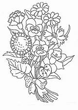 Coloring Flowers Bouquet Printable Flower Sheets Tiki sketch template