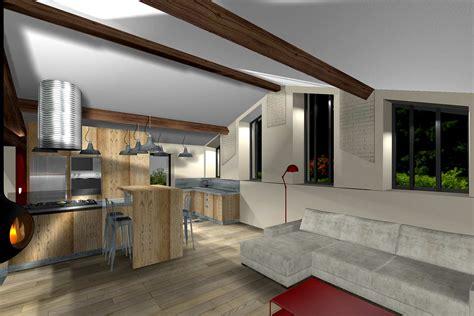 cuisine salle à manger salon aménagement combles d une maison en appartement à lyon