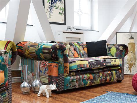 Divano Chesterfield Giallo : Divano Vintage A 3 Posti In Tessuto Multicolore Giallo