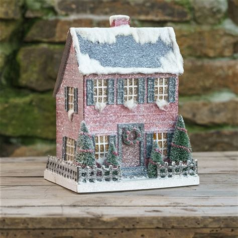 Cardboard Saltbox House   Glitter Christmas Village