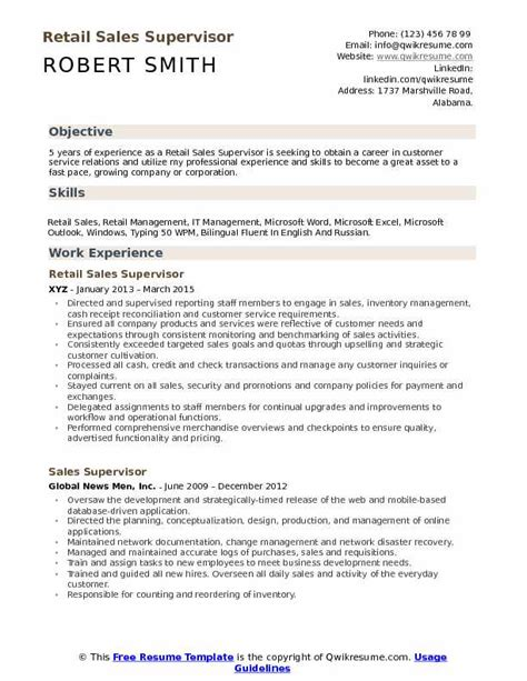 retail sales supervisor resume sles qwikresume