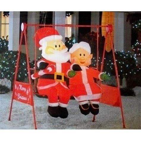 claus porch swing animated christmas inflatable home