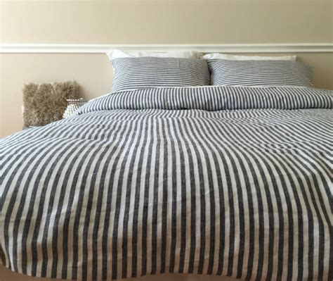 Striped Duvet Cover, Handmade In Natural Linen Superior
