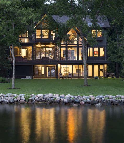 rustic contemporary lake house  privileged views  lake minnetonka