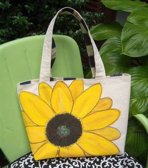 sunflower tote bag hand painted embroidered craft
