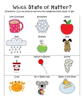 identifying states of gas matter worksheet states of matter unit soli by shelby teachers