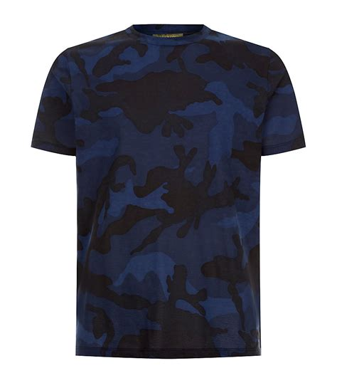 valentino t shirt valentino camouflage tshirt in blue for lyst
