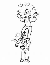 Acrobat Coloring Printable Juggler sketch template