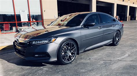 """2.0t infotainment system alloy rims push to start reverse camera smart key system lkas acc cruise control brakehold system anti theft integration mileage: First 2018 Honda Accord 2.0T Touring with 20"""" Custom ..."""