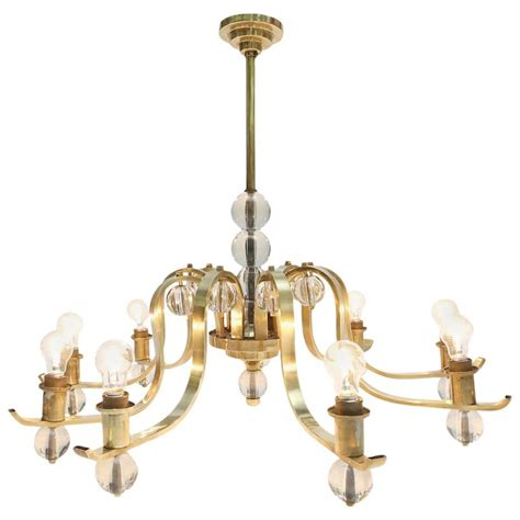 brass and glass chandelier for sale at 1stdibs