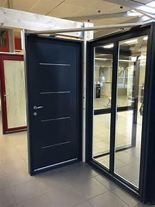 Insert Alu Pour Porte Intérieure : porte d 39 entr e aluminium avec inserts inox ral 7016 gris ~ Voncanada.com Idées de Décoration