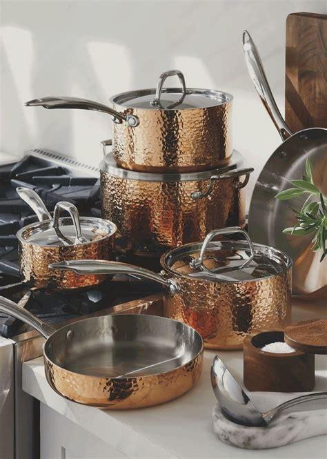 fleischer  wolf seville hammered copper  piece cookware set cookware set cookware