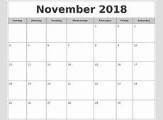 November 2018 Free Monthly Calendar