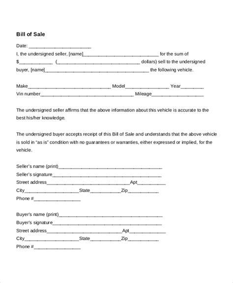 auto bill  sale   word  documents