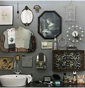 Bathroom Decorations by Retro Bathroom Idea With Grey Wall Paint Plus Completed With Unique Wall Orna