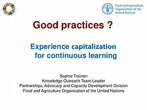 Good practices? Experience capitalization for continuous ...
