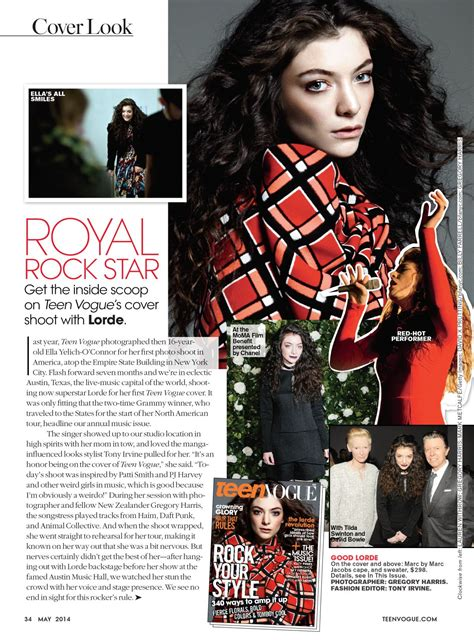 LORDE in Teen Vogue magazine, May 2014 Issue – HawtCelebs