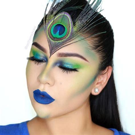 halloween makeup   full spectrum palette  urban decay peacock inspired makeup