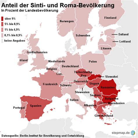 Woher kommen sinti und roma? StepMap - Sinti und Roma Bevölkerung in Europa - Landkarte ...
