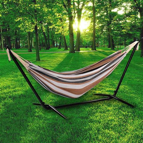 Hammock And Frame by Ancheer Folding 2 Person Leisure Hammock Swing Bed