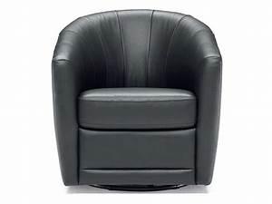 Fauteuil Pivotant Cuir : fauteuil pivotant en cuir toupy coloris noir conforama ~ Teatrodelosmanantiales.com Idées de Décoration