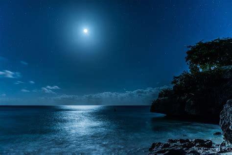 landscape nature caribbean sea starry night moon