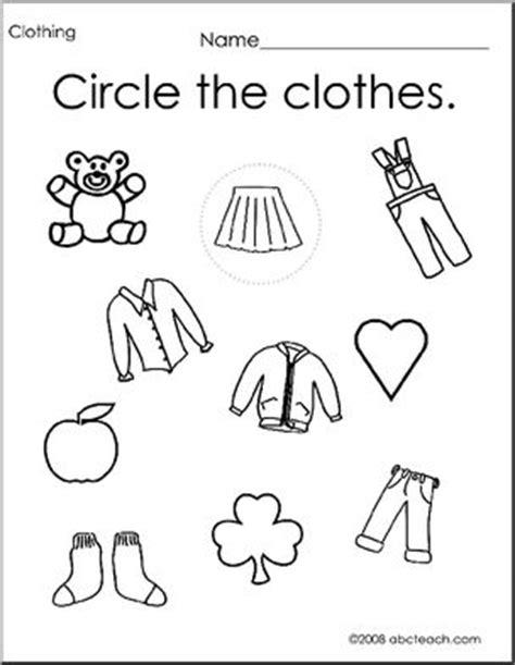 worksheet set clothing theme 1 preschool primary abcteach 715 | prek clothing set p 0