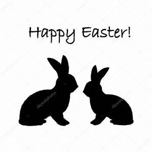 Osterhase Schwarz Weiß : monochrome silhouette der beiden ostern kaninchen entwerfen von ostern stockvektor amicabel ~ A.2002-acura-tl-radio.info Haus und Dekorationen