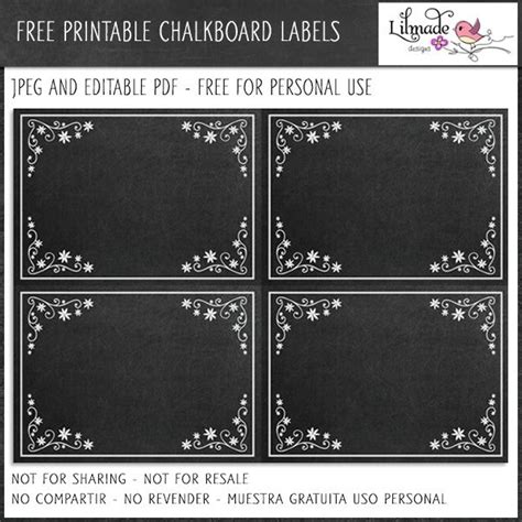 editable chalkboard labels freebies mygraficocom